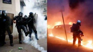 اشتباكات-عنيفة-بين-الشرطة-والمتظاهرين-في-باريس-،-وتحطيم-نوافذ-المتاجر-،-وإشعال-النار-في-السيارات