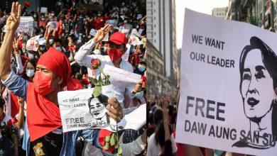 انقلاب-ميانمار:-أعيدت-خدمة-الإنترنت-لكن-الاحتجاجات-ضد-الجيش-مستمرة-،-للمطالبة-بالإفراج-عن-أونغ-سان-سو-كي